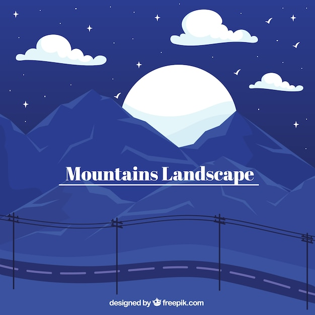 Paysage Bleu Avec Des Montagnes, Coucher De Soleil Vecteur gratuit