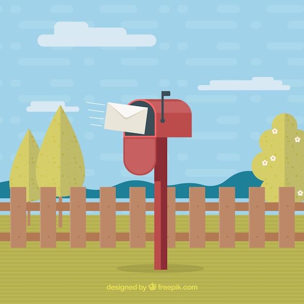 Paysage avec boîte aux lettres rouge design plat Vecteur gratuit