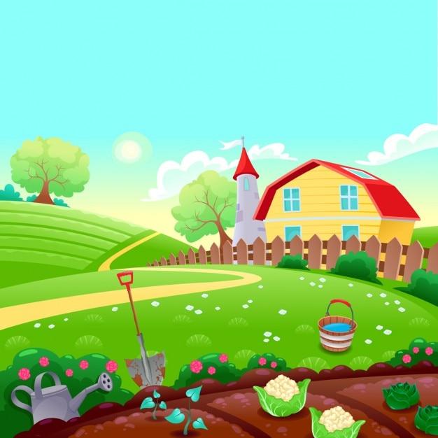 Paysage de campagne drôle avec jardin potager vecteur cartoon illustration Vecteur gratuit