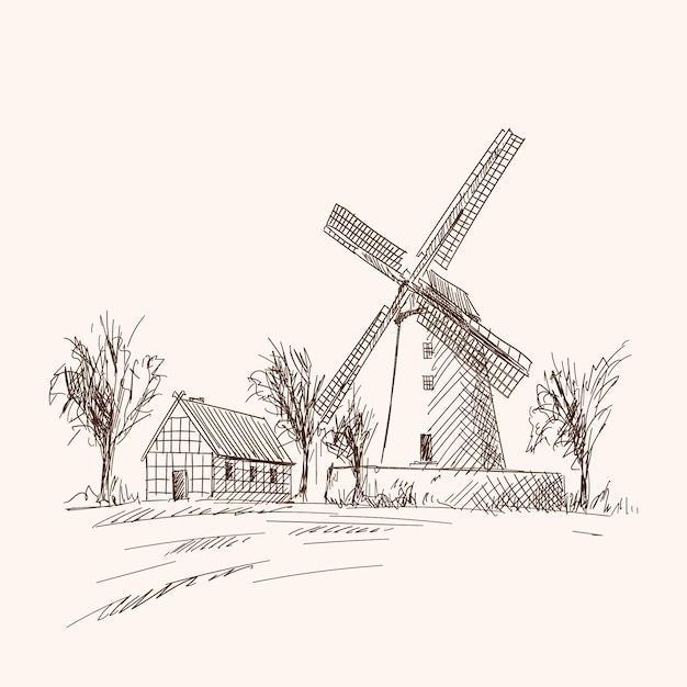 Paysage De Campagne Avec Des Maisons En Bois Et Un Moulin. Croquis à La Main Au Crayon Sur Fond Beige. Vecteur Premium