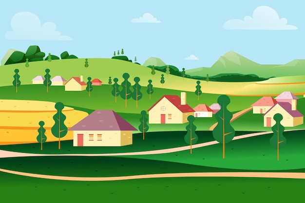 Paysage De Campagne Avec Maisons Rustiques Vecteur gratuit