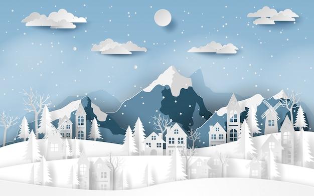 Paysage campagne village au snow valley Vecteur Premium