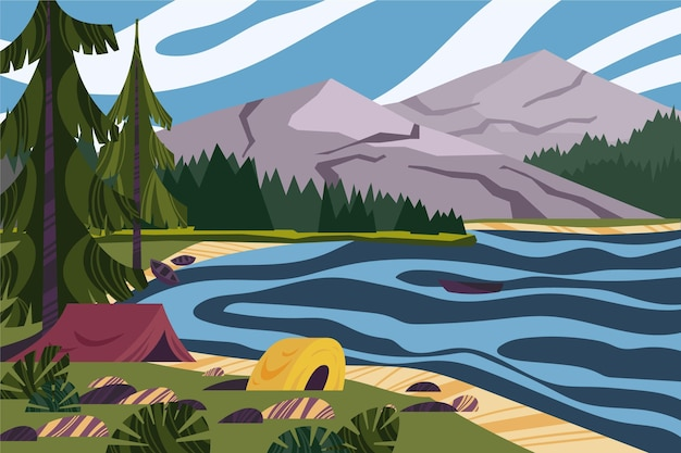 Paysage De Camping Avec Lac Vecteur gratuit