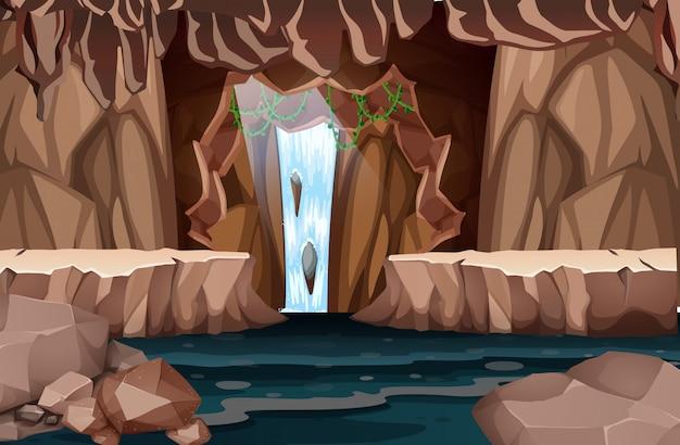 Paysage de cascade naturelle Vecteur Premium