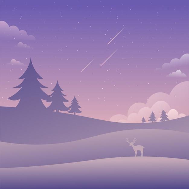 Paysage de ciel violet étoiles filantes nature fond plat style vector illustration Vecteur Premium