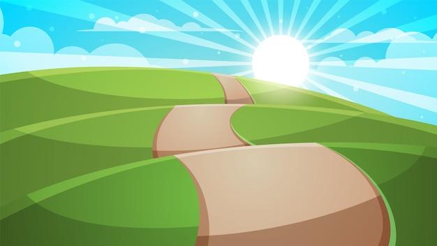 Dessin De Route paysage de colline de dessin animé. route, illustration de voyage
