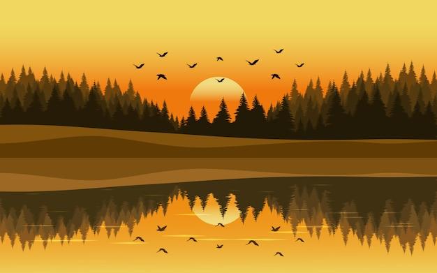 Paysage Coucher De Soleil Dans La Forêt De Pins Avec Rivière Et Oiseaux Volants Vecteur Premium