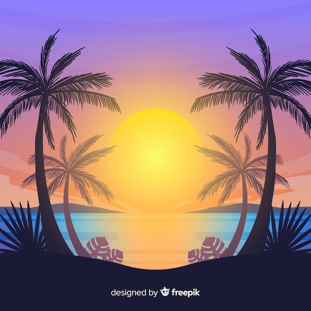 Paysage coucher de soleil plage dégradée Vecteur gratuit