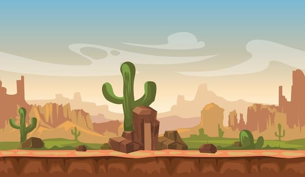 Paysage de désert de dessin animé amérique prairie avec cactus, collines et montagnes. jeu vectorielle continue de retour Vecteur Premium