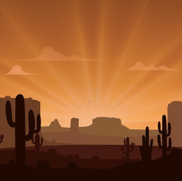 Paysage désertique avec des cactus sur le fond de coucher de soleil Vecteur Premium