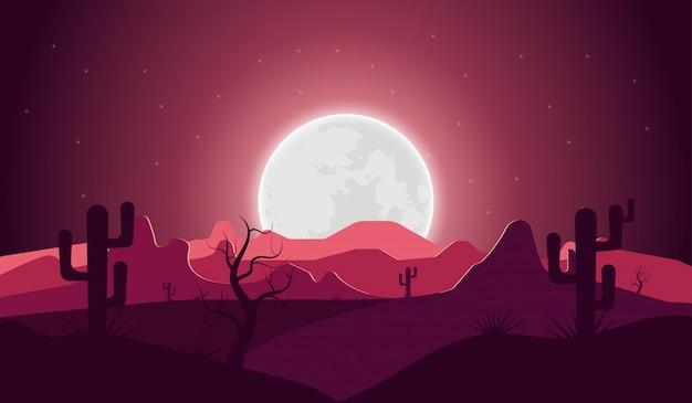 Paysage désertique avec nuit cactus montagne et pleine lune Vecteur Premium