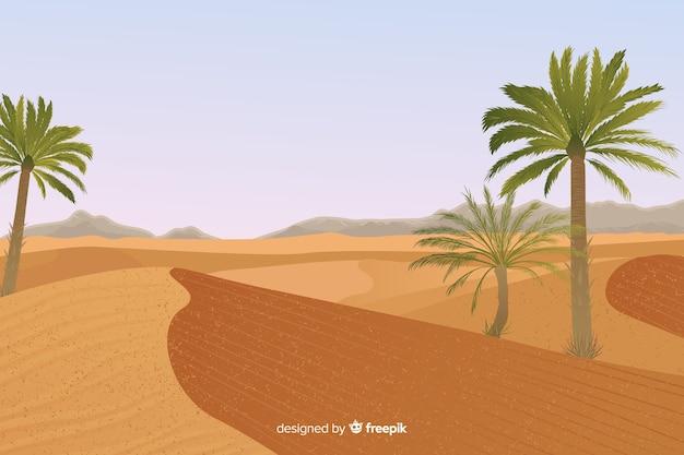 Paysage désertique avec palmier Vecteur gratuit
