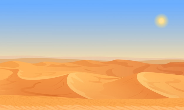 Paysage désertique de sable vide Vecteur Premium