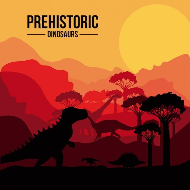 Paysage de dinosaures préhistoriques Vecteur Premium