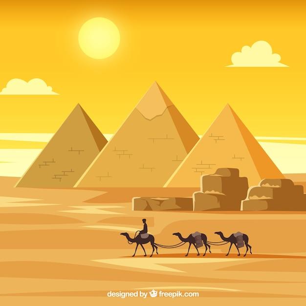 Paysage d'egypte avec caravane Vecteur gratuit