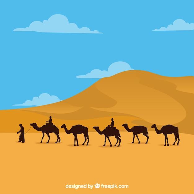 Paysage d'egypte avec des pyramides et des caravanes Vecteur gratuit