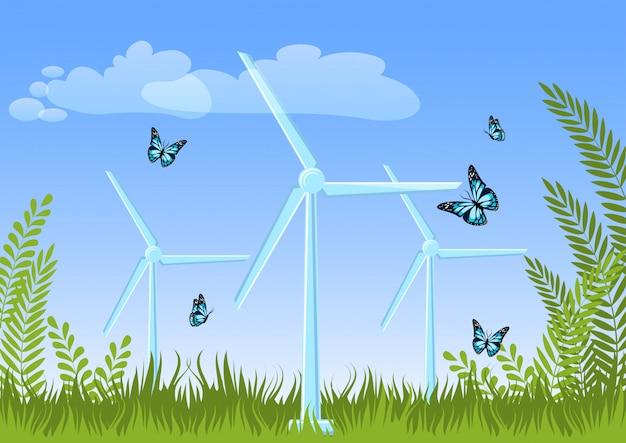 Paysage d'été avec des éoliennes, plantes vertes, herbe, papillons volants, ciel et nuages. Vecteur Premium