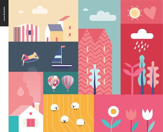 Paysage d'été idillique - concept de camp de vacances, campements et vacances à la campagne, collage d'arbres, de fleurs, d'un champ avec des moutons et vagues du lac ou de la mer avec bateau à voile et homme au repos sur un matelas gonflable Vecteur Premium