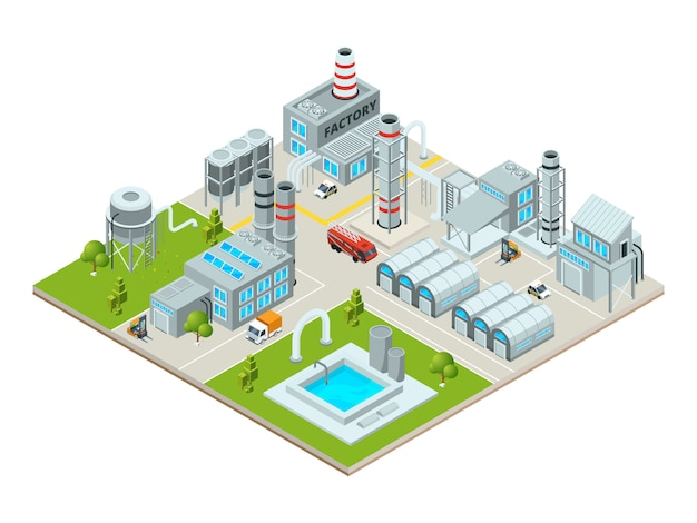 Paysage Extérieur Avec Des Bâtiments D'usine Vecteur Premium