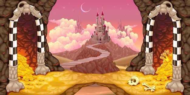 Paysage fantastique avec château, cavernes et trésor Vecteur Premium