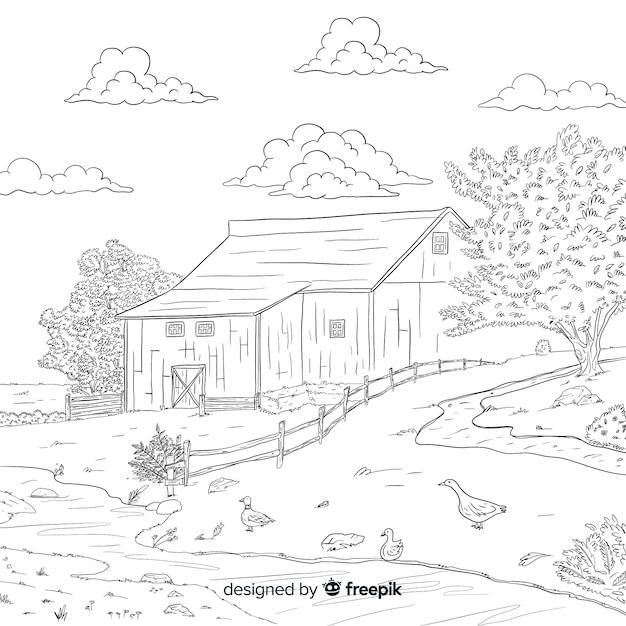 Paysage de ferme de dessin animé Vecteur gratuit