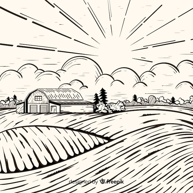 Paysage de ferme dessiné à la main Vecteur gratuit