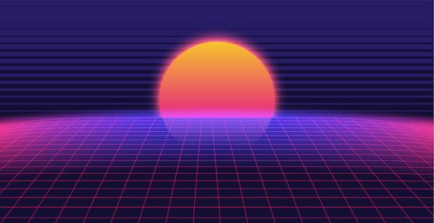 Paysage de fond 3d synthwave des années 80 style Vecteur Premium
