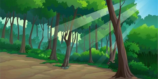 Paysage De Forêt En Journée Vecteur Premium