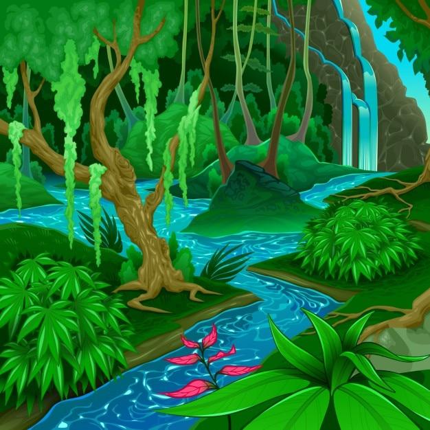 Paysage de forêt avec une rivière Vecteur gratuit