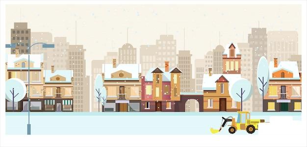 Paysage d'hiver avec des bâtiments, des arbres et un chasse-neige Vecteur gratuit