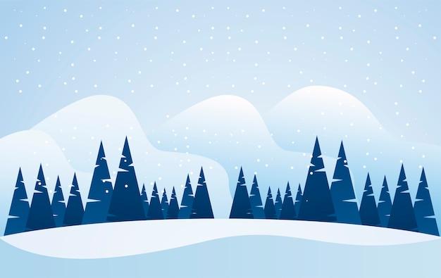 Paysage D'hiver Bleu Beauté Avec Illustration De Scène De Pins Vecteur Premium