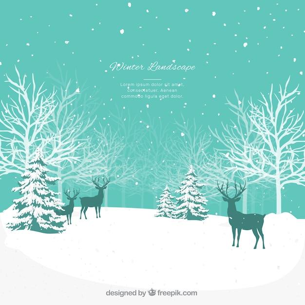 Paysage D'hiver Bleu Avec Des Cerfs Vecteur gratuit