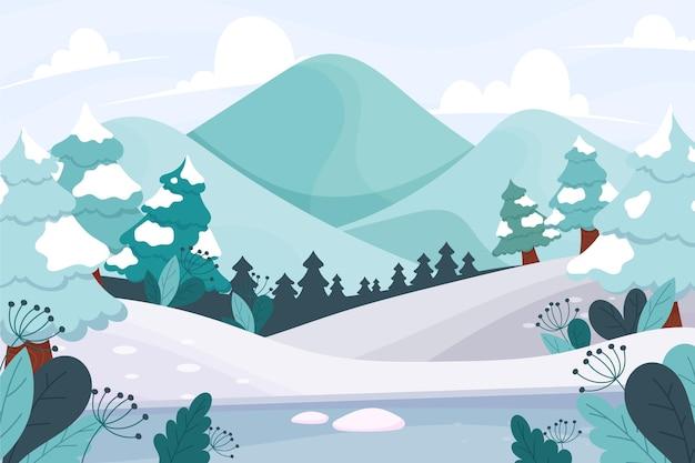 Paysage D'hiver Dessiné à La Main Vecteur Premium