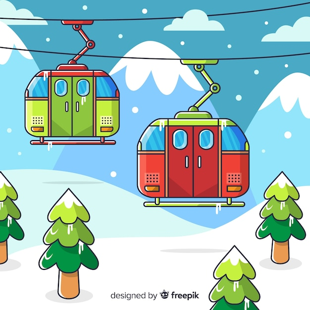 Paysage d'hiver dessinés à la main Vecteur gratuit