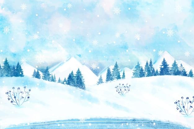 Paysage d'hiver enneigé papier peint Vecteur gratuit