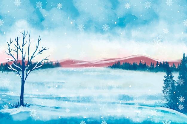 Paysage D'hiver Enneigé Vecteur gratuit