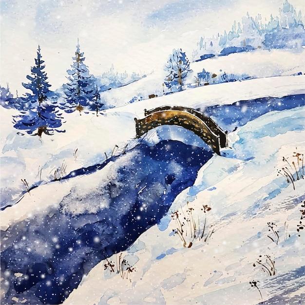 Paysage D'hiver Lac Et Pont Vecteur gratuit