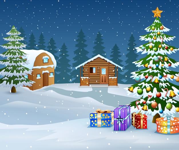 Paysage d'hiver avec maison en bois de neige et sapin de noël Vecteur Premium