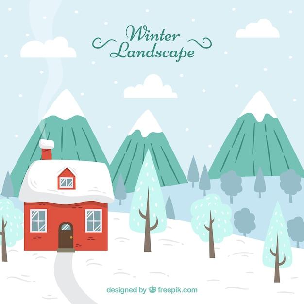 Paysage D'hiver Avec Maison Vecteur gratuit