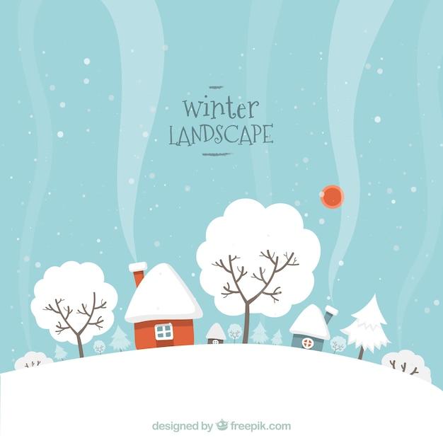 Paysage D'hiver Neigeux Vecteur gratuit