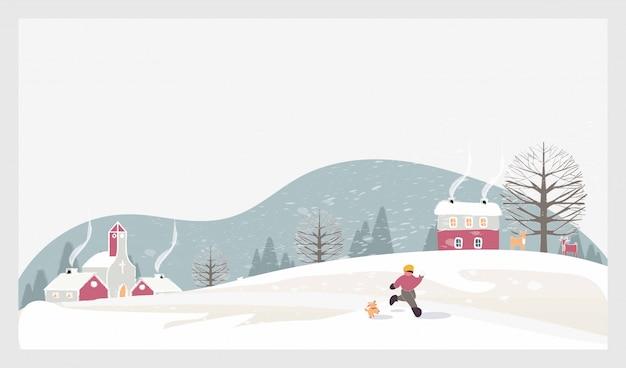 Paysage D'hiver De Noël Avec Les Enfants, La Neige Et Les Cerfs Vecteur Premium