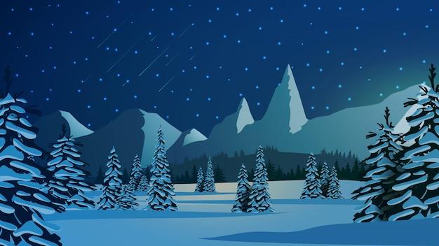 Paysage D'hiver Avec Des Pins Enneigés, De Hautes Montagnes à L'horizon Et Un Ciel étoilé Bleu Vecteur Premium