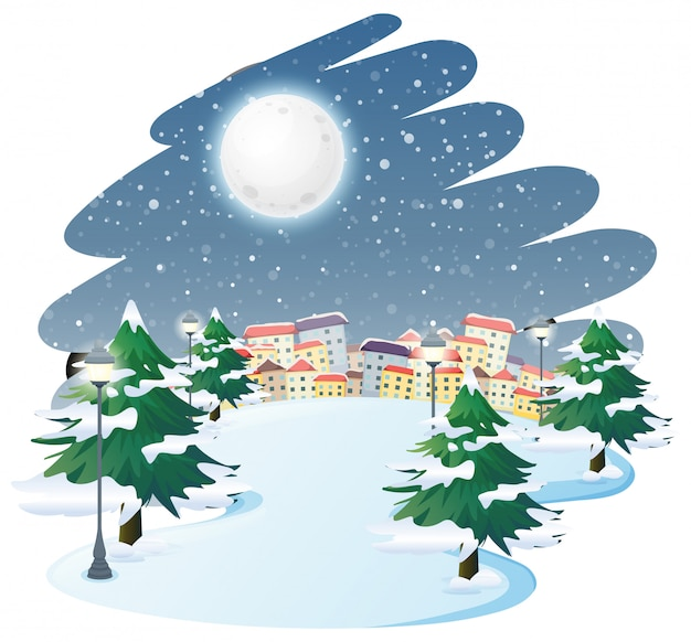 Un paysage d'hiver en plein air Vecteur gratuit