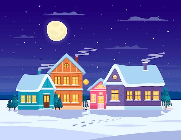 Paysage D'hiver Vecteur gratuit