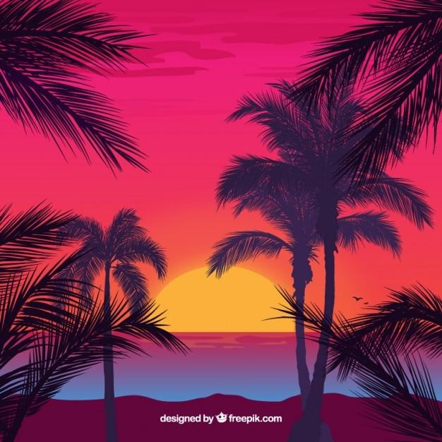 Paysage idyllique avec des palmiers backgroud Vecteur gratuit