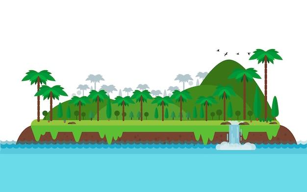 Paysage d'île tropicale et montagne dans le style plat Vecteur Premium