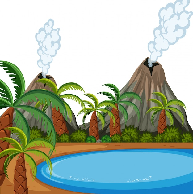 Un paysage d'île de volcan Vecteur Premium
