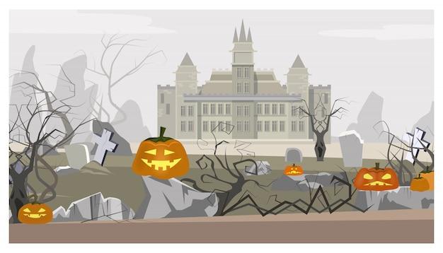 Paysage avec illustration de château, de cimetière et de citrouilles Vecteur gratuit