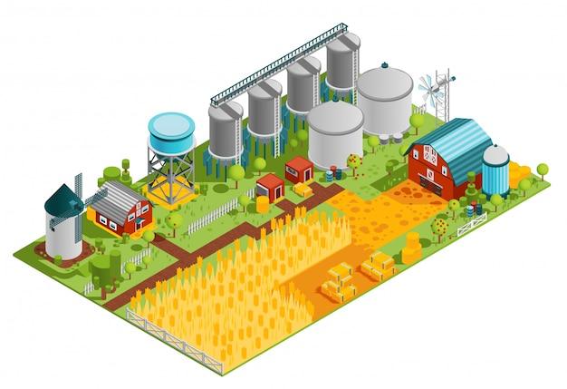 Paysage isométrique de bâtiments de ferme Vecteur gratuit
