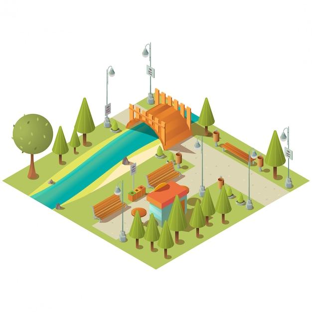 Paysage Isométrique Du Parc De La Ville Verte Avec Kiosque De Restauration Rapide Vecteur gratuit